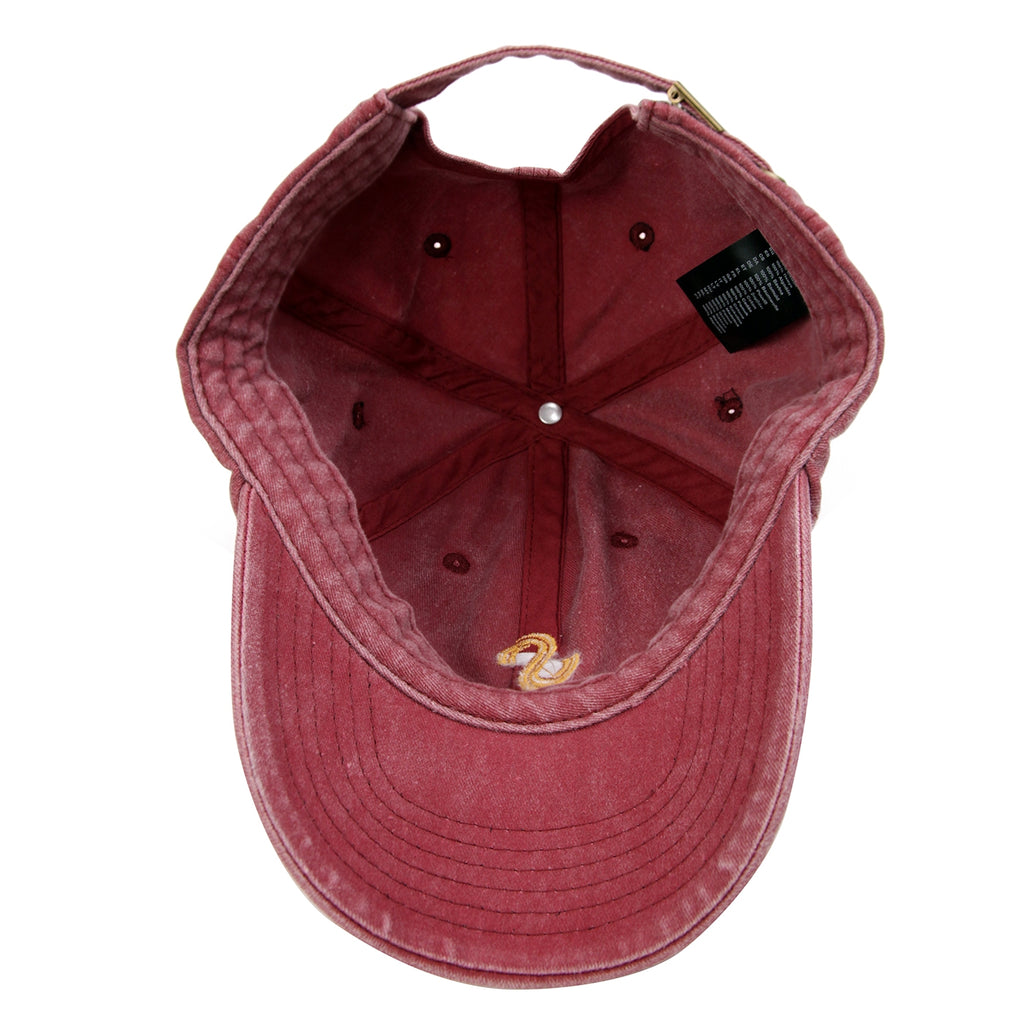Signature Clothing S Logo Dad Cap in Washed Red / Gold - Inside