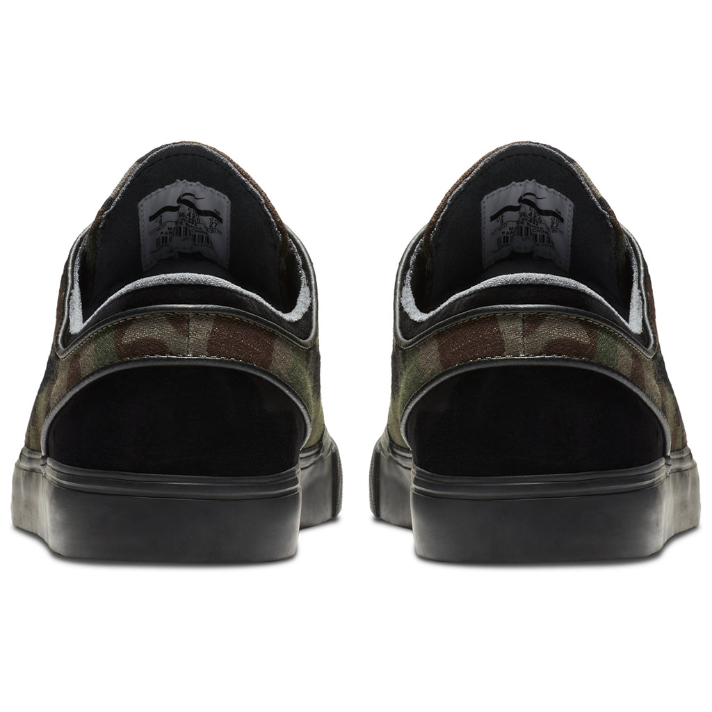 Nike SB Stefan Janoski OG Shoes in Black / Black - Medium Olive - White - Heel