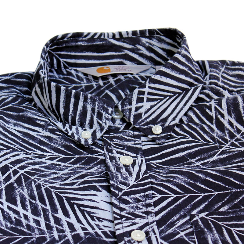 Carhartt WIP Cayman S/S Shirt in Paper Palm Print - Collar
