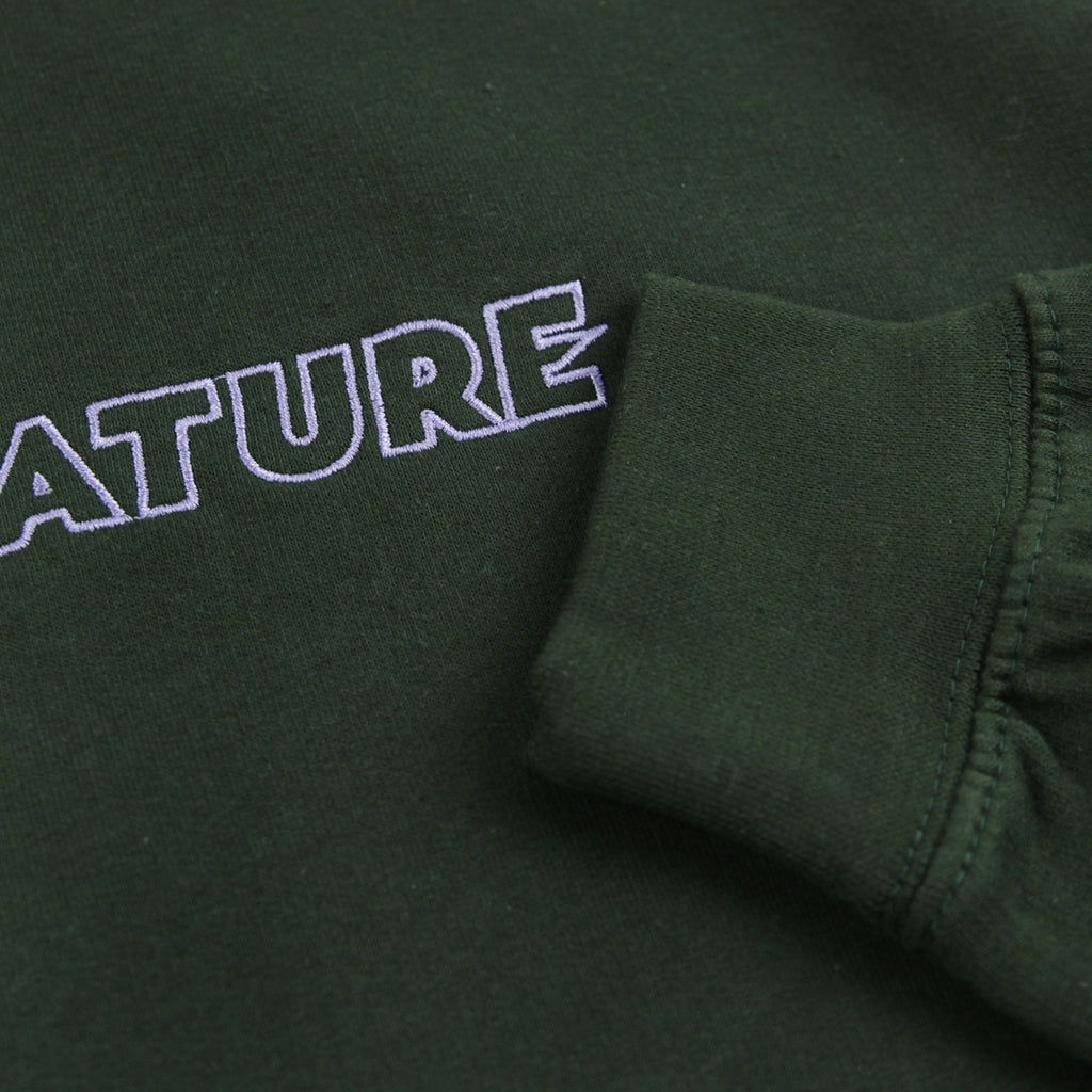 Signature Clothing Outline Logo Embroidered Hoodie in Forest Green / Lilac - Cuff