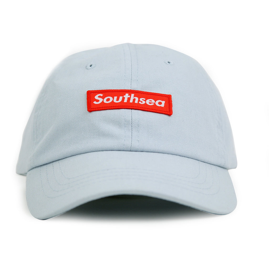 "Bored of Southsea ""Southsea"" 6 Panel Dad Cap in Pastel Blue - Detail"