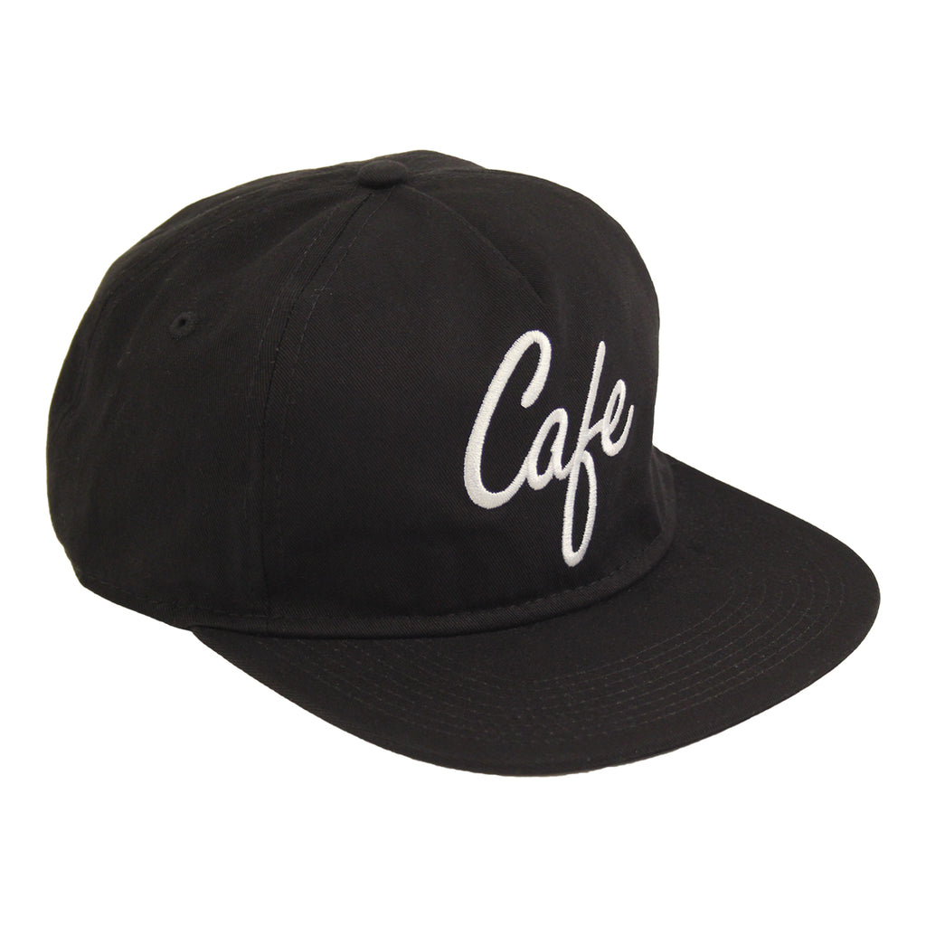 Skateboard Cafe Diner Script Deconstructed 5 Panel Cap in Black