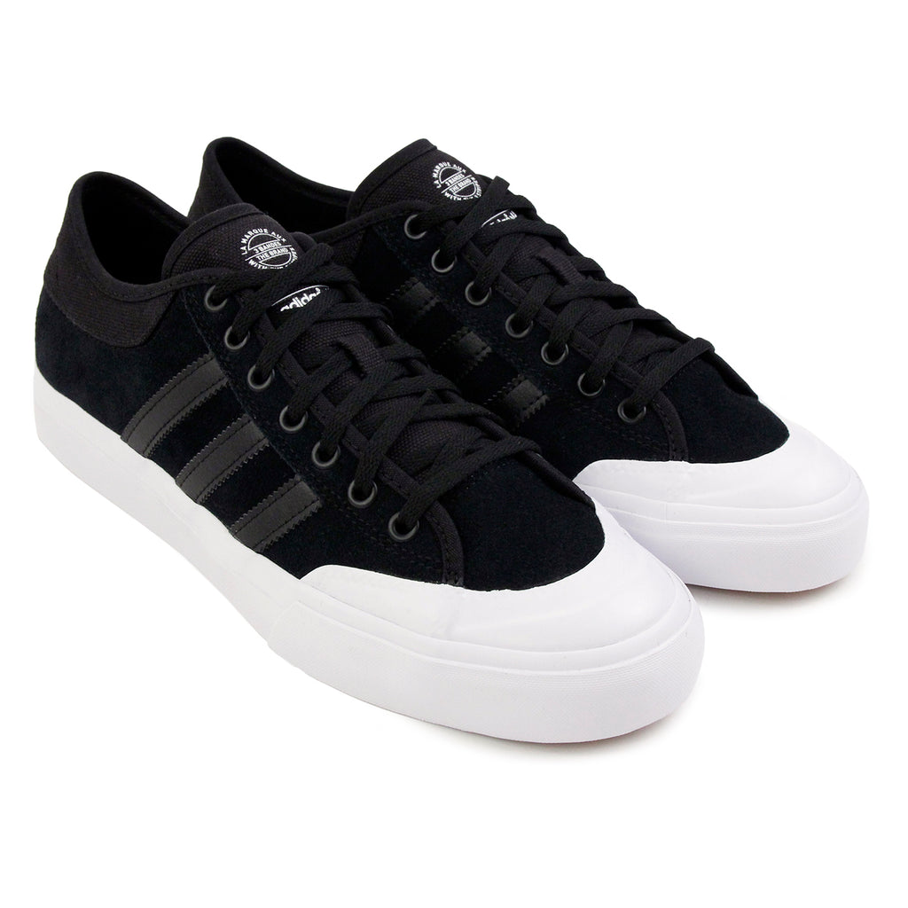 Adidas Skateboarding Matchcourt Shoes in Core Black / Core Black / FTW White - Paired