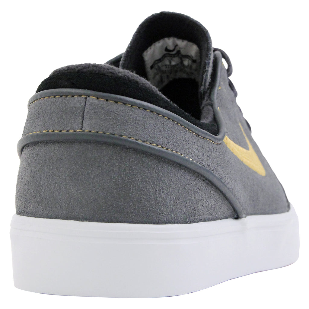 Nike SB Stefan Janoski Shoes in Anthracite / Metallic Gold / Black / Bright Crimson - Heel