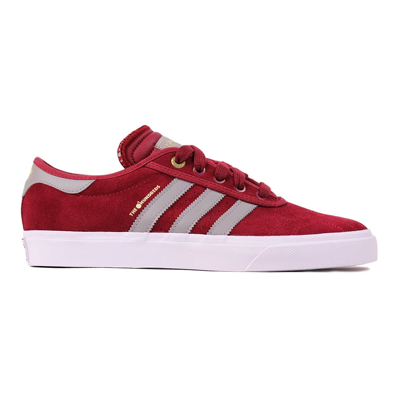 Adidas Skateboarding x The Hundreds Adi Ease Shoes in Collegiate Burgundy/Gold