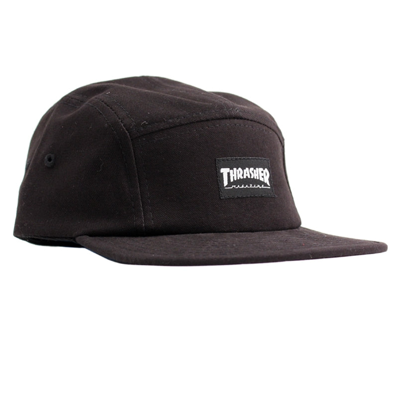 5 Panel Cap in Black by Thrasher