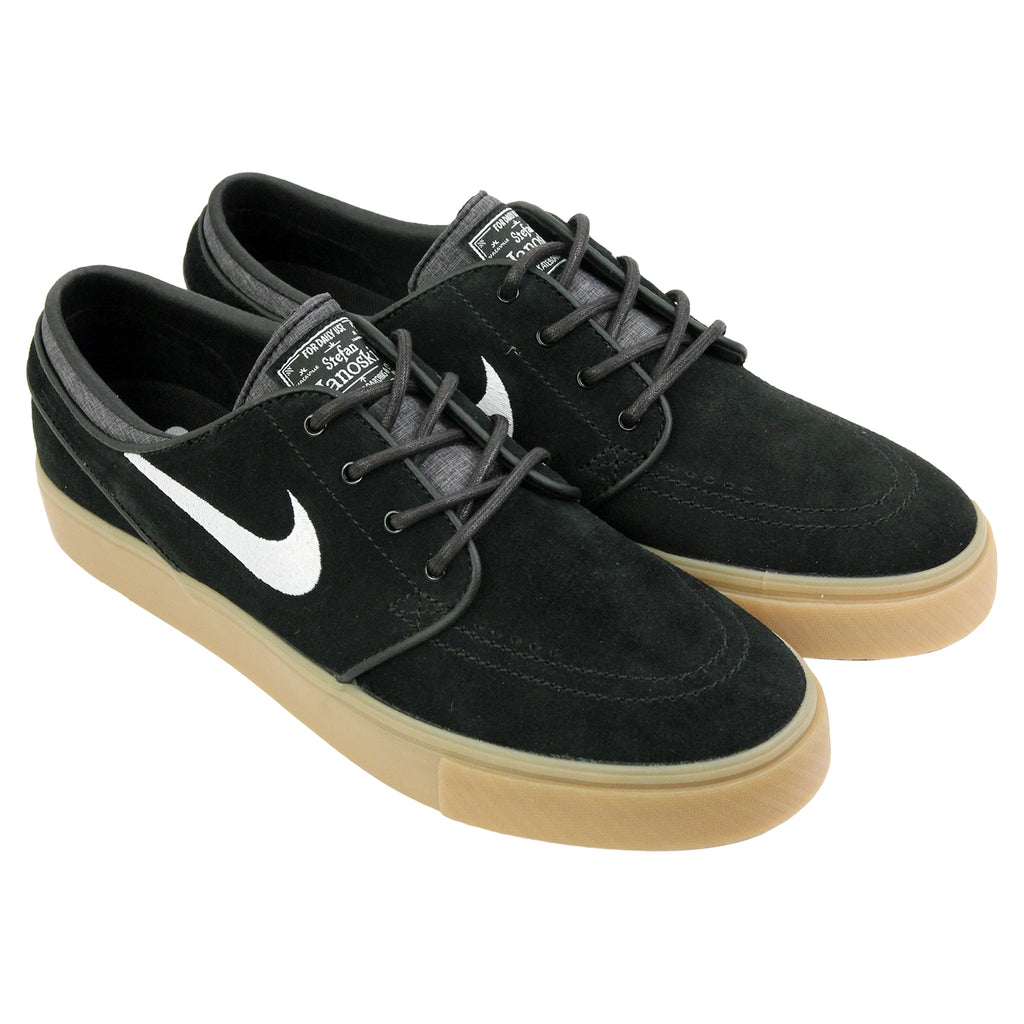 Nike SB Zoom Stefan Janoski Shoes in Black / White-Gum / Light Brown - Pair