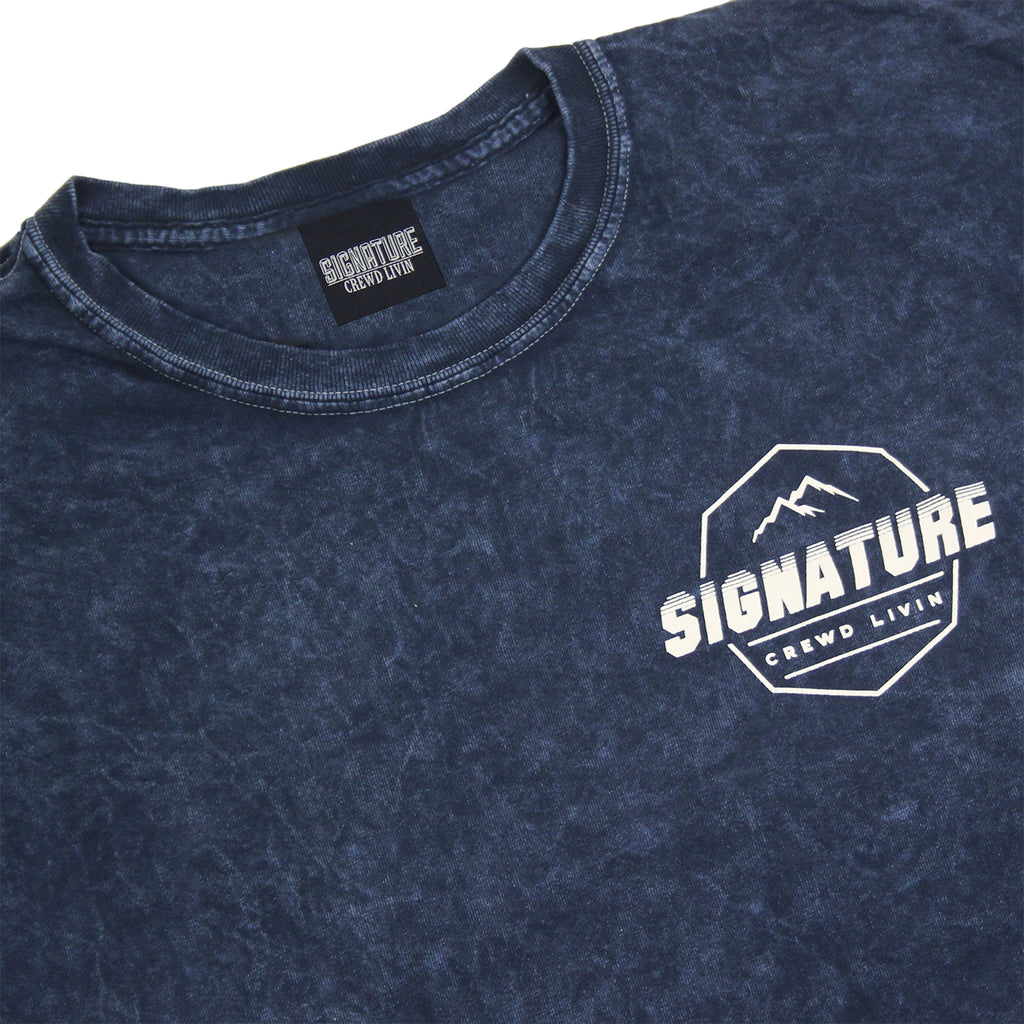 Signature Clothing Mach Peak Logo T Shirt in Navy Mineral Wash - Front detail
