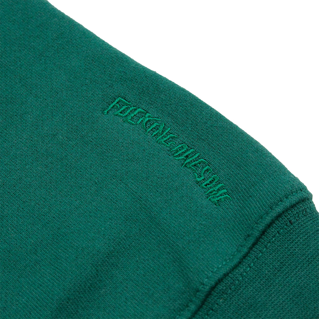 Fucking Awesome Embroidered Logo Hoodie in Green - Detail embroidery
