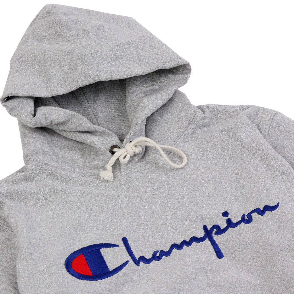 Champion Reverse Weave Hoodie in Grey Melange - Detail