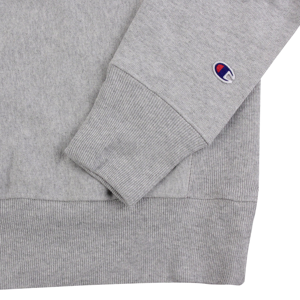 Champion 3 Panel Crew Neck Sweatshirt in Oxford Grey / White / Navy - Cuff