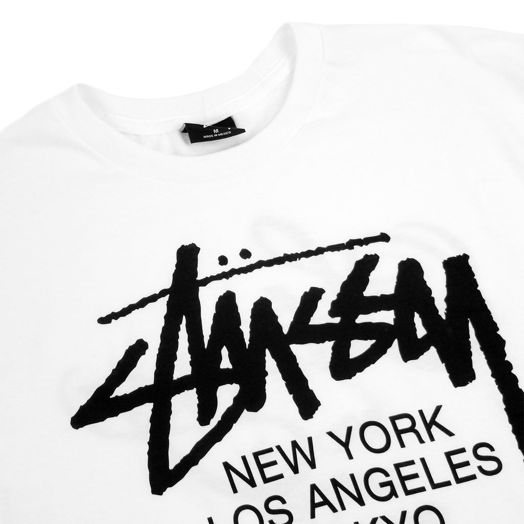 Stussy World Tour T Shirt in White - Front detail