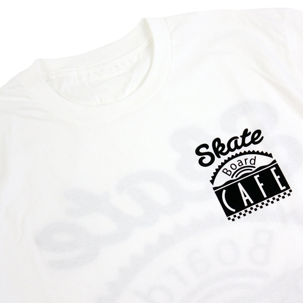 Skateboard Cafe Diner T Shirt in White - Collar
