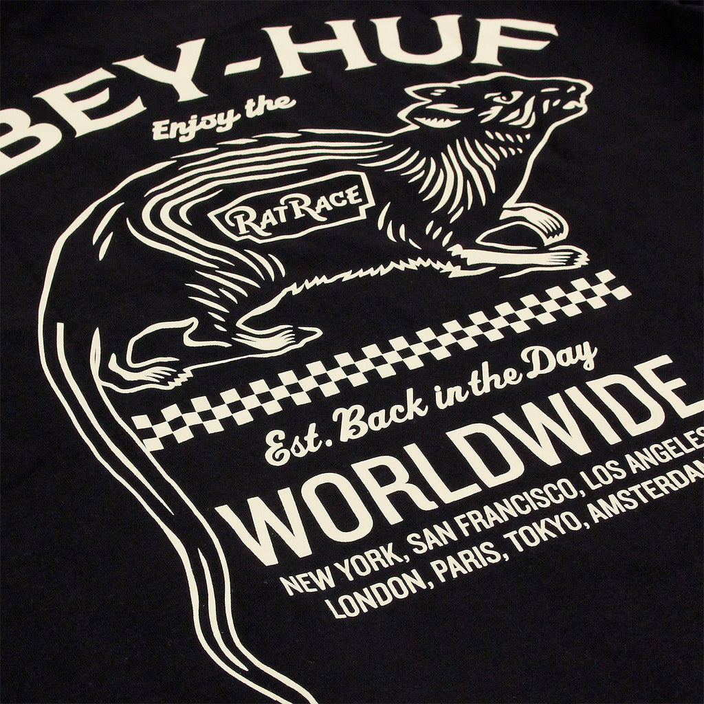 HUF x Obey Rat Race L/S T Shirt in Black - Back print