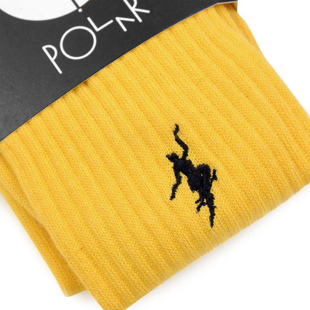 Polar Skate Co No Comply Socks in Yellow / Black - Detail