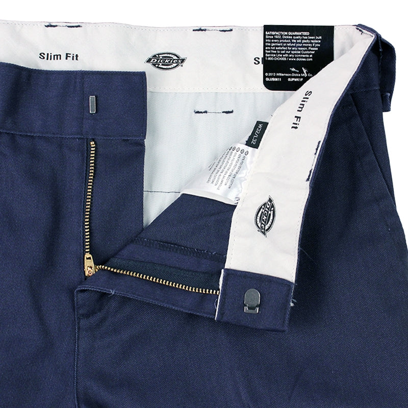 DICKIES 872 SLIM FIT WORK PANT NAVY - Zipper
