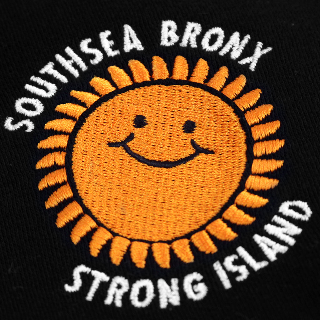 Southsea Bronx Strong Island Embroidered Hoodie in Black - Embroidered