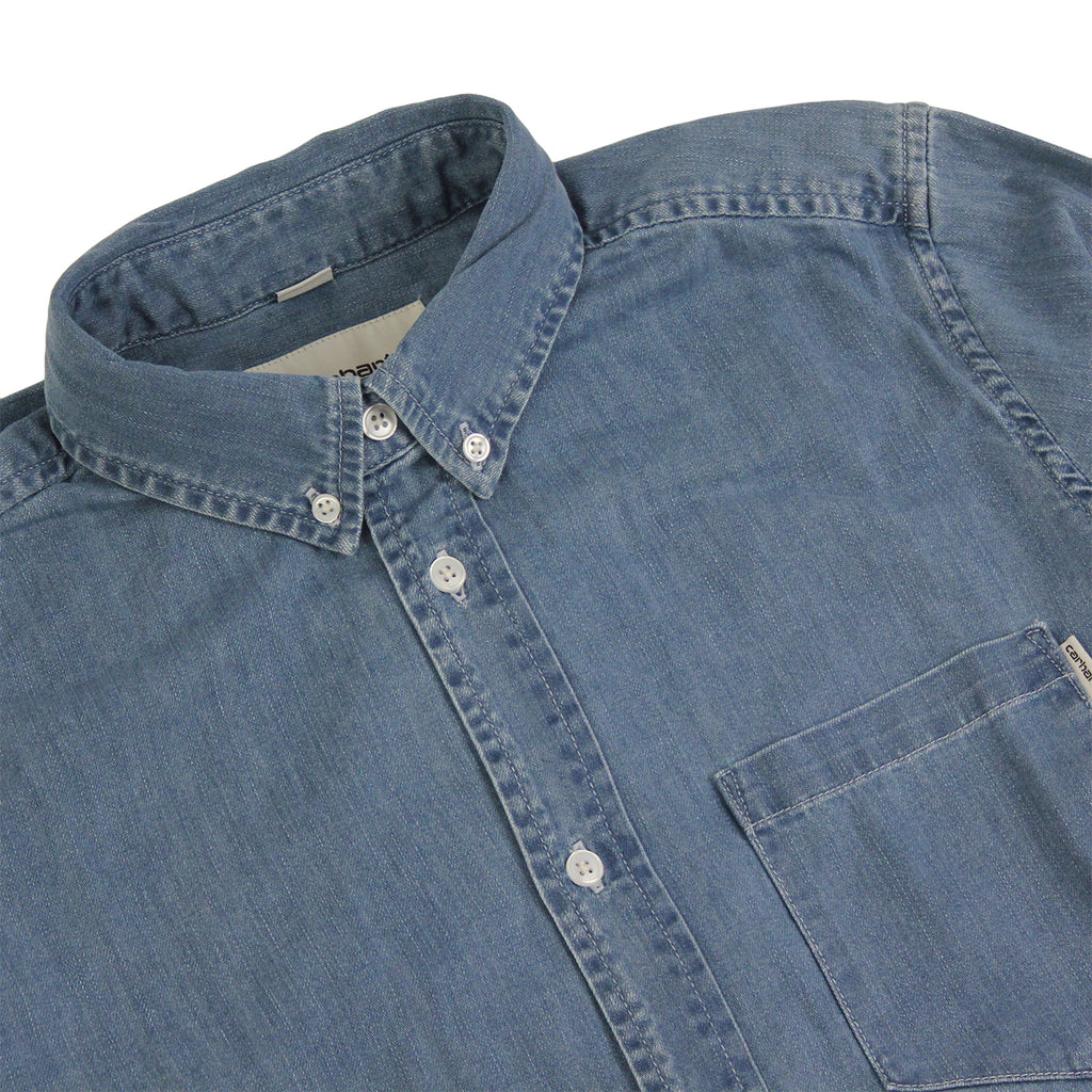 Carhartt Civil L/S Shirt in Blue Stone Bleached - Detail
