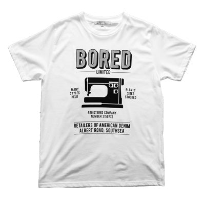 Bored of Southsea Retailers T Shirt in Black on White