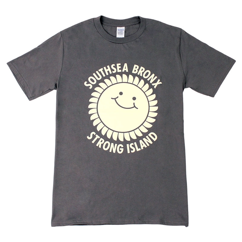Southsea Bronx Strong Island T Shirt in Ecru on Charcoal Grey