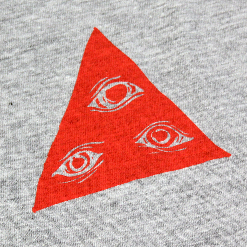 Welcome Skateboards Talisman Tri Colour T Shirt in Heather Grey / Red / White - Front print