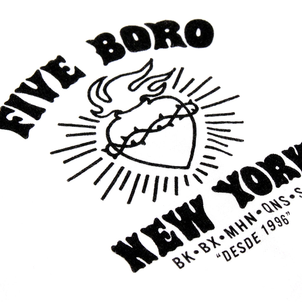 5Boro Cinco Barrios II T Shirt in White - Front Print