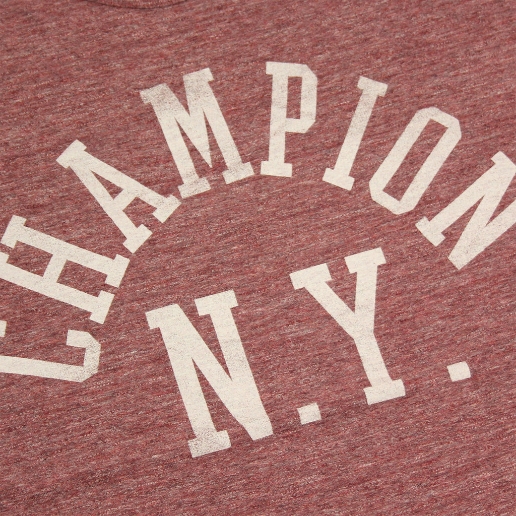 Champion Crew Neck T Shirt in Melange Wine - Print