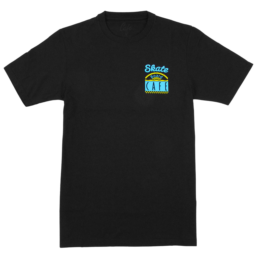 Skateboard Cafe Diner T Shirt in Black / Blue / Yellow - Front