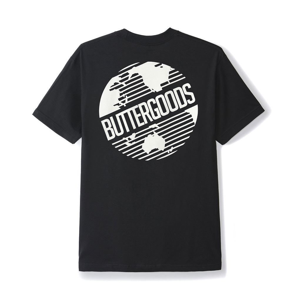 Butter Goods Axis Worldwide Logo T Shirt in Black - Back