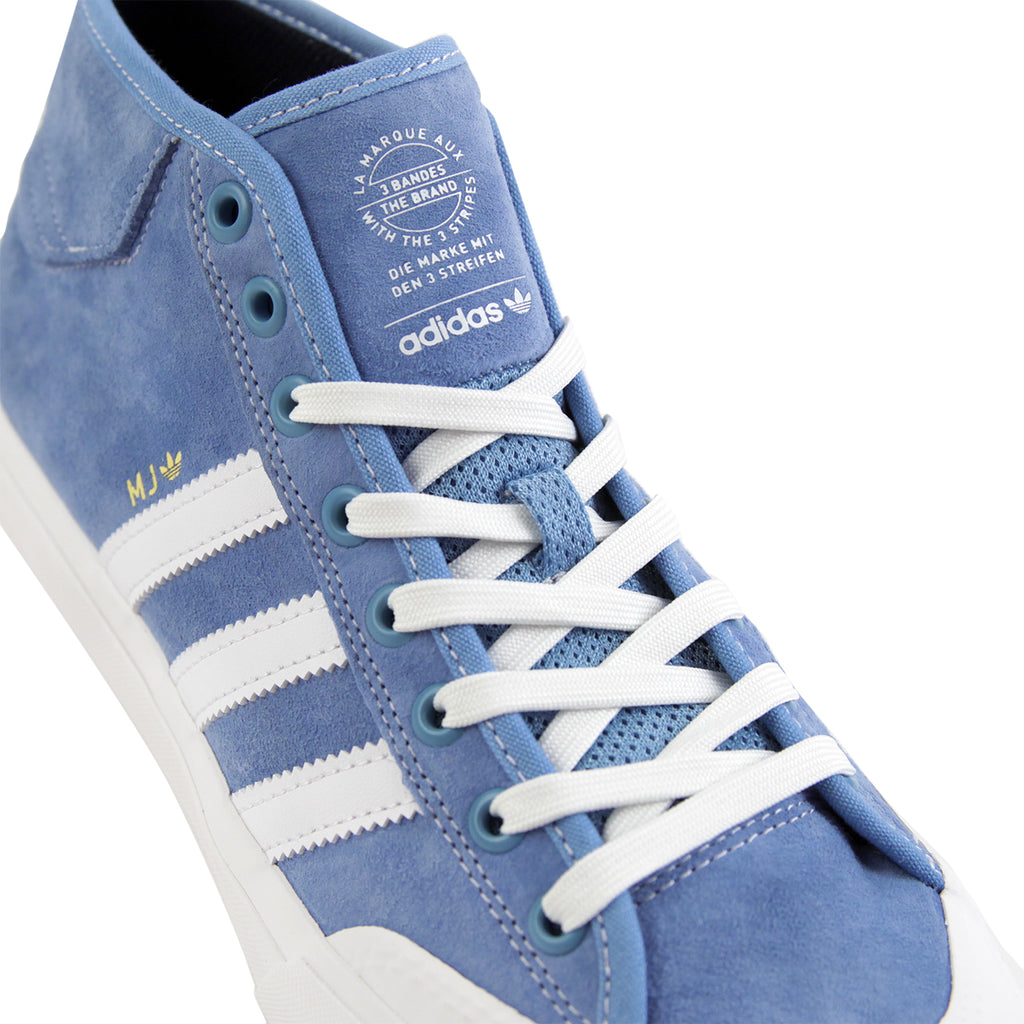 Adidas Skateboarding x Marc Johnson Matchcourt Mid Shoes in Light Blue / Neo White / Gold Metallic - Laces