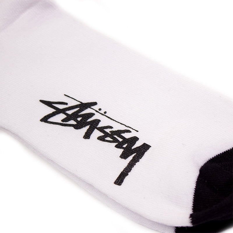 Stussy SS Link Socks in White - Sole print