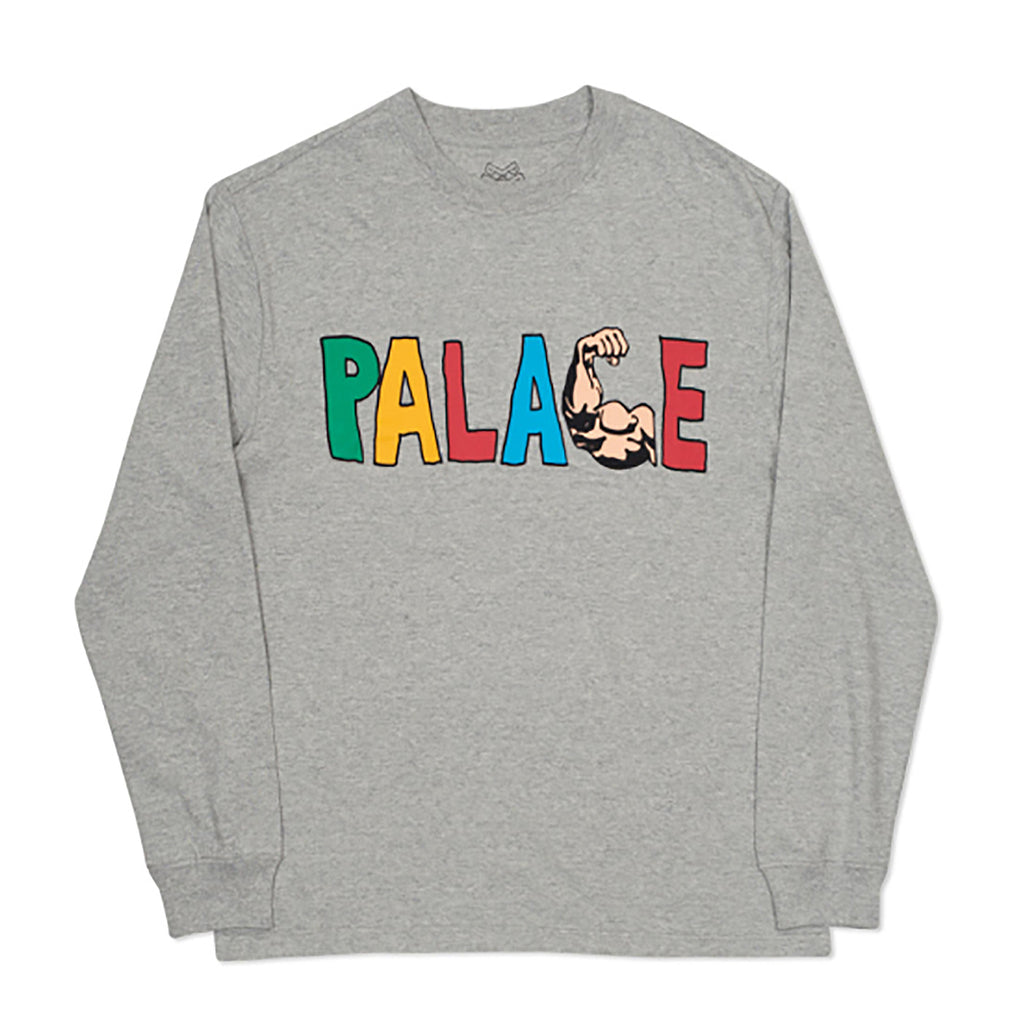 Palace Muscle L/S T Shirt in Grey Marl