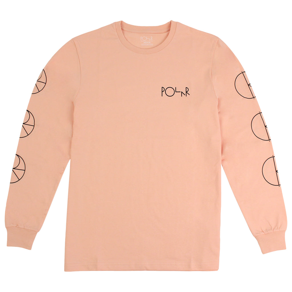 Polar Skate Co Racing L/S T Shirt in Pastel Peach / Black