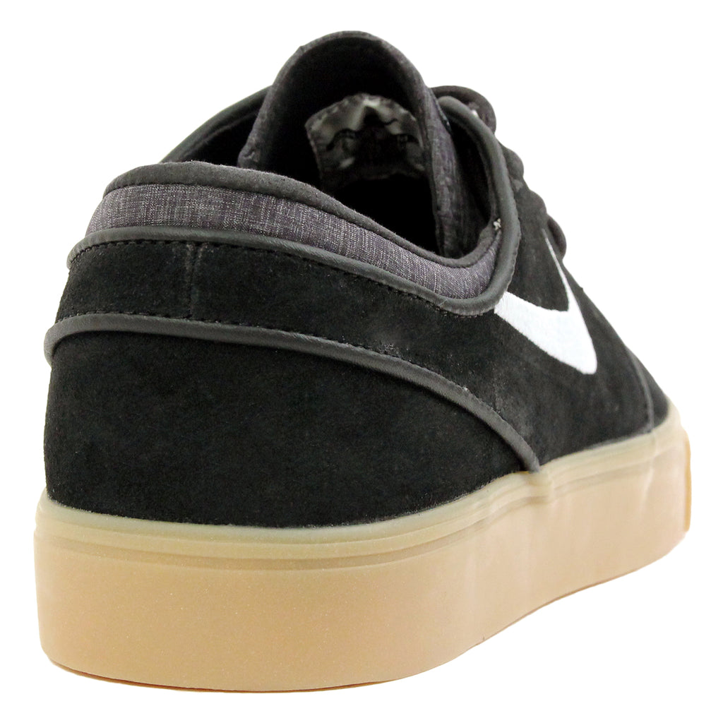 Nike SB Zoom Stefan Janoski Shoes in Black / White-Gum / Light Brown - Heel