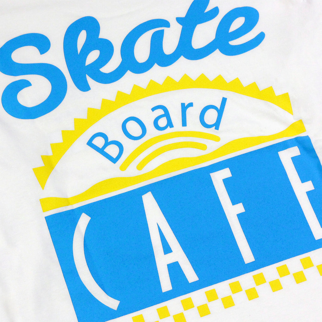 Skateboard Cafe Diner L/S T Shirt in White / Blue / Yellow - Back print