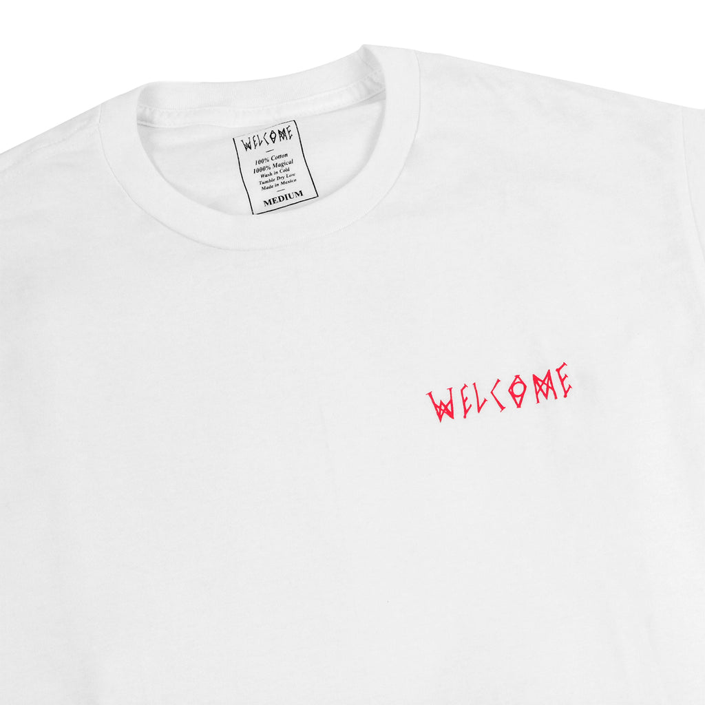 Welcome Skateboards Talisman Gradient T Shirt in White / Pink / Blue - Detail