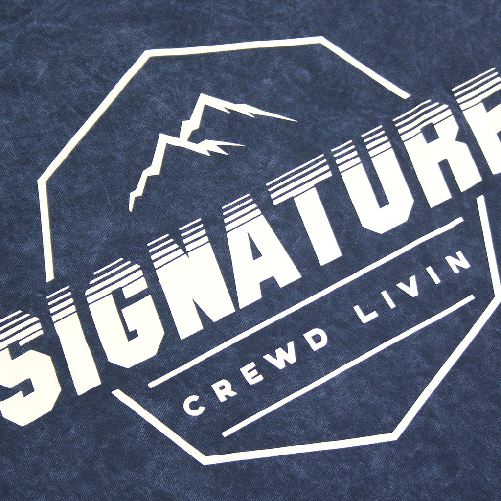 Signature Clothing Mach Peak Logo T Shirt in Navy Mineral Wash - Back print detail