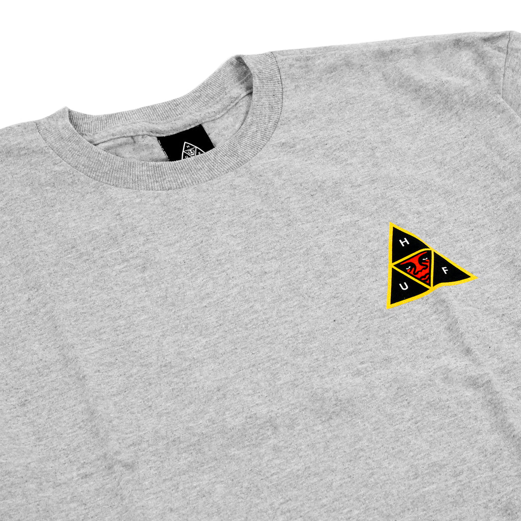 HUF x Obey Icon Face T Shirt in Heather Grey - Detail