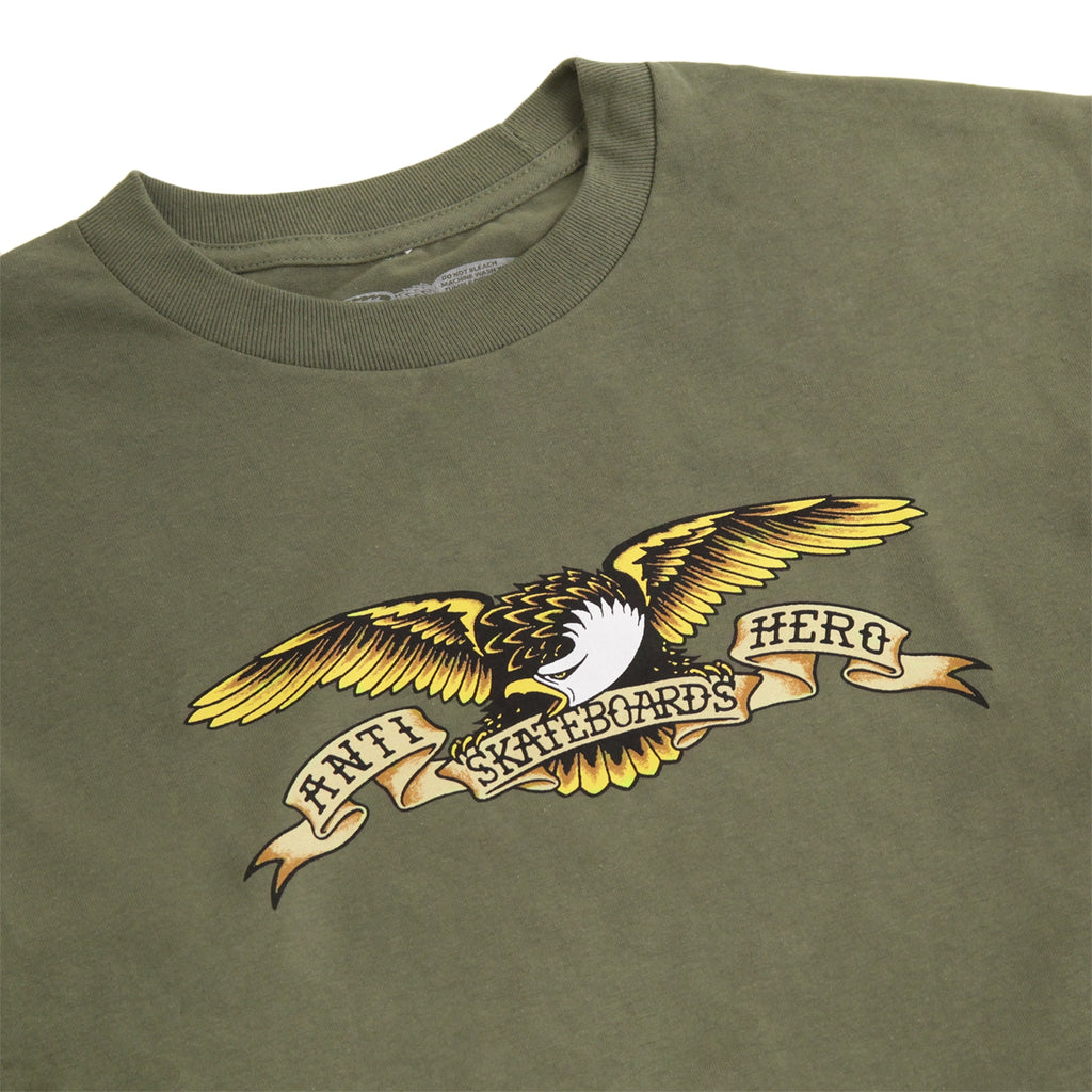 Anti Hero Skateboards Eagle L/S T Shirt in Military Green - Detail