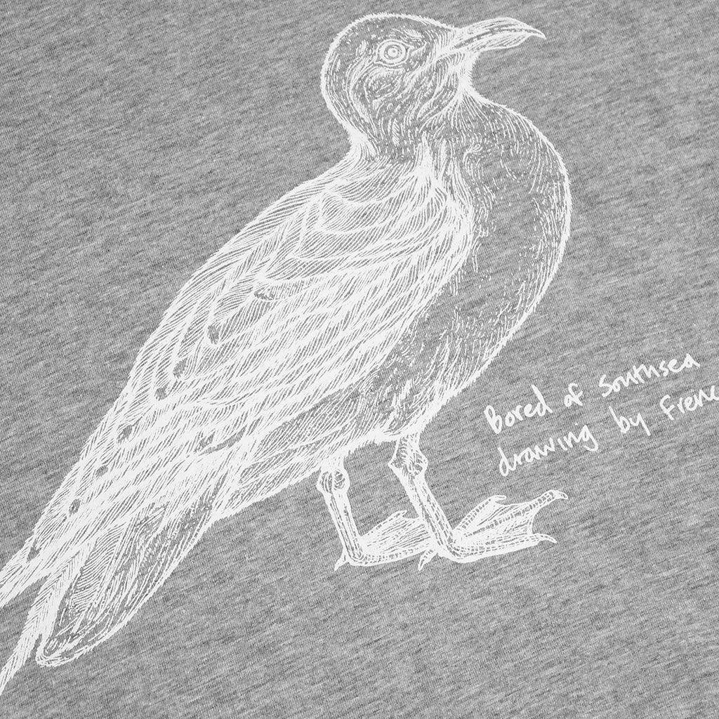 Bored of Southsea Seagull T Shirt in White on Heather Grey - Print