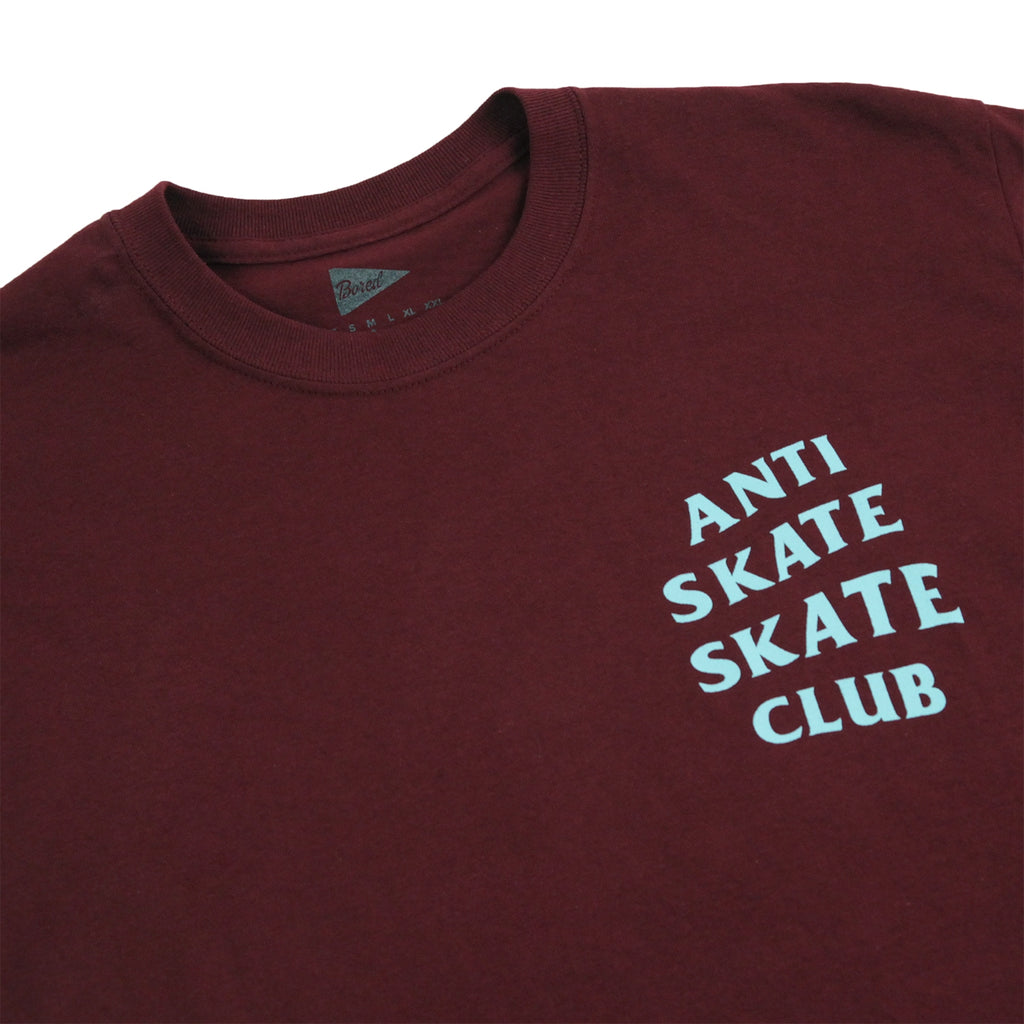 Bored of Southsea Anti Skate Club T Shirt in Maroon / Blue - Detail