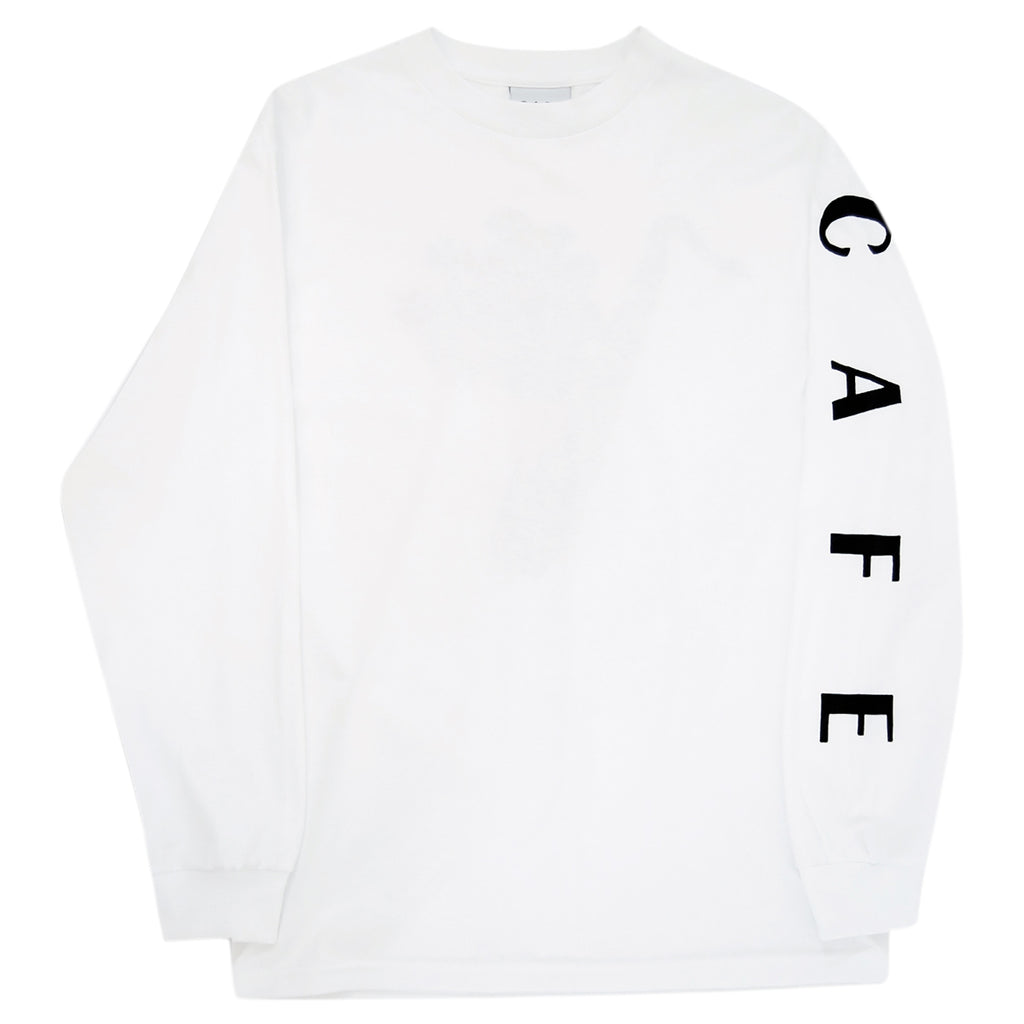 Skateboard Cafe Sax Flowers L/S T Shirt in White - Front