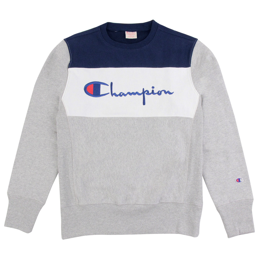 Champion 3 Panel Crew Neck Sweatshirt in Oxford Grey / White / Navy