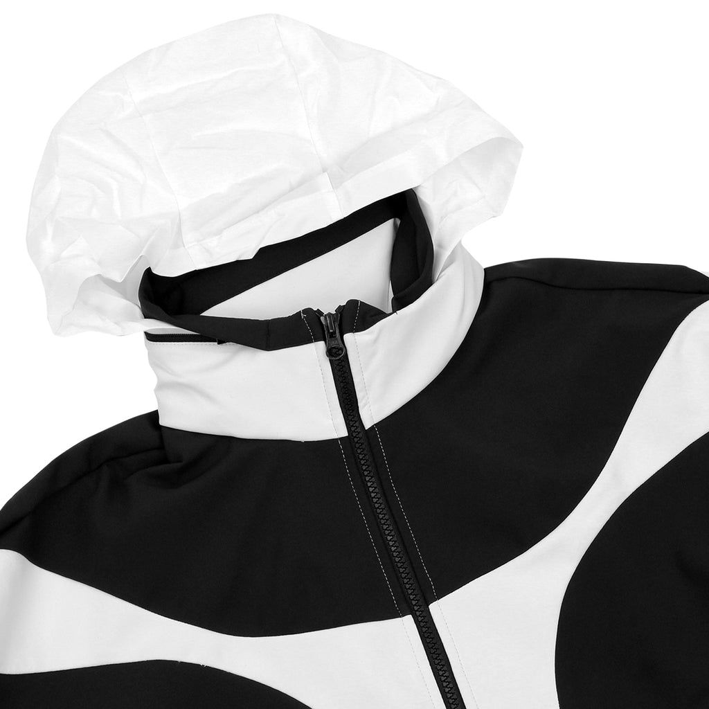 Palace x Adidas Heavy Half Zip Jacket in White / Black - Hood