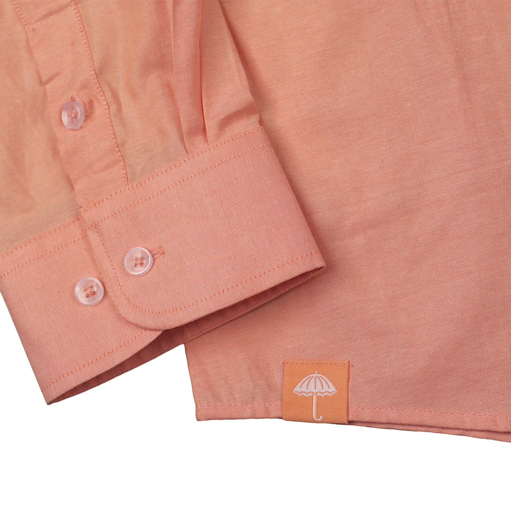 Helas Classic Long Sleeve Shirt in Salmon Pink - Label