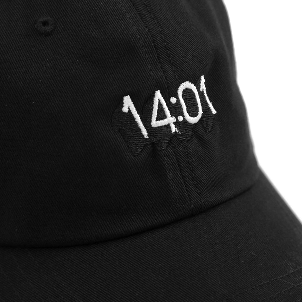 14:01 Skateboard Co Logo Dad Cap in Black - Detail