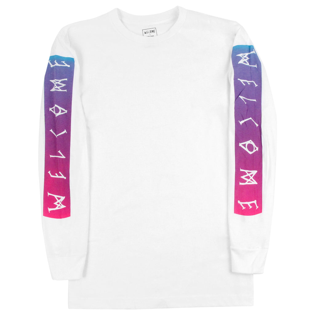 Welcome Skateboards Scrawl Bar L/S T Shirt in White / Pink / Blue - Sleeve