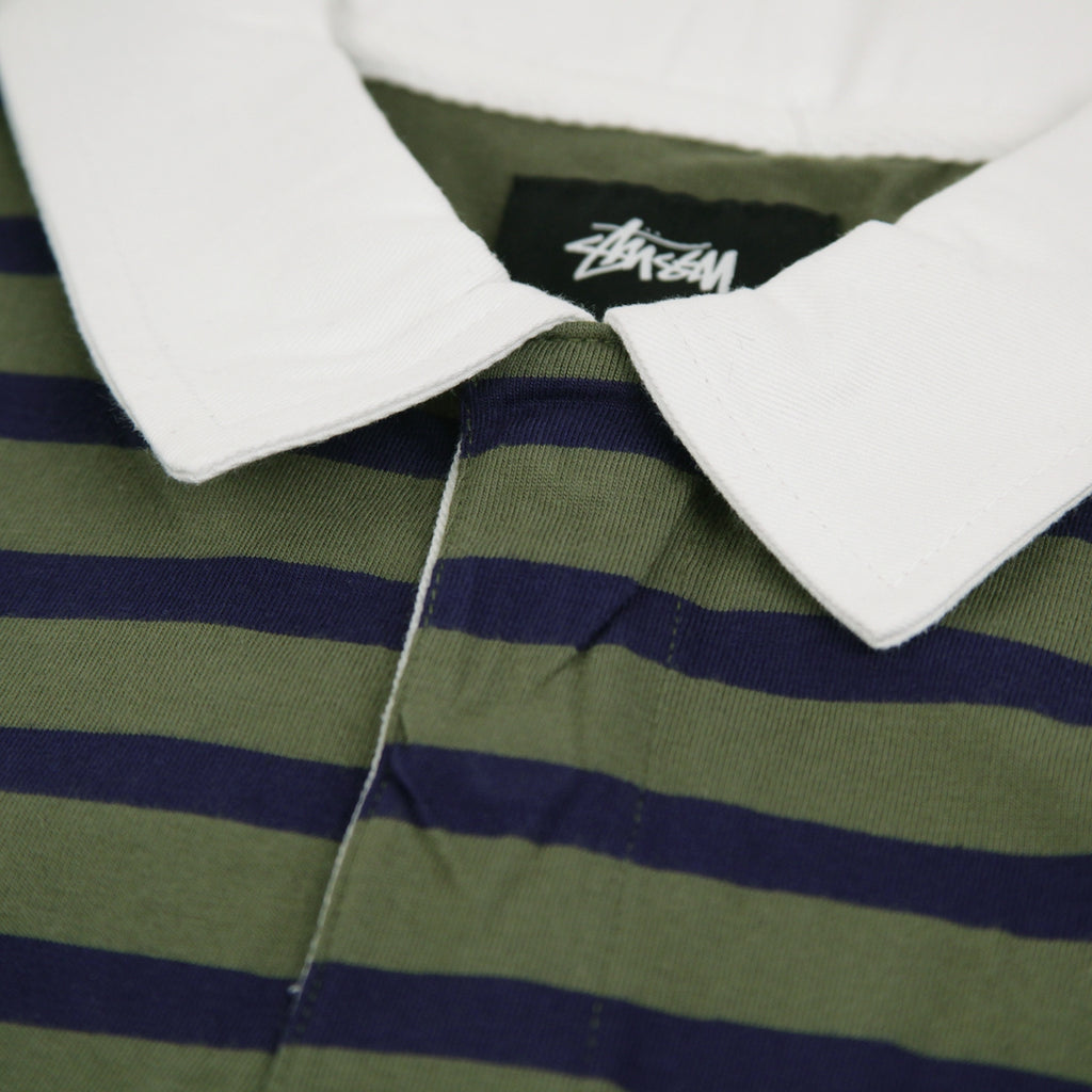 Stussy L/S Jonah Stripe Rugby in Olive - Collar