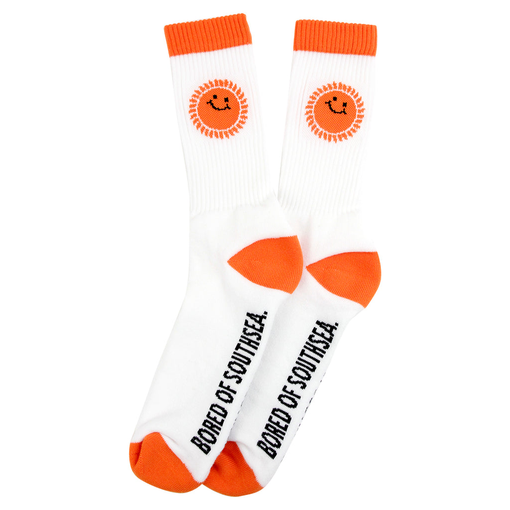 Southsea Bronx Strong Island Socks in White / Orange