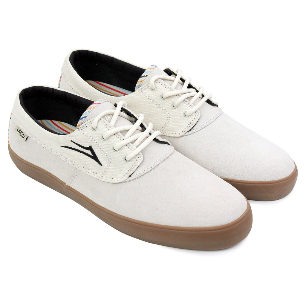Lakai Camby Crailtap Suede Shoes in Cream - Pair